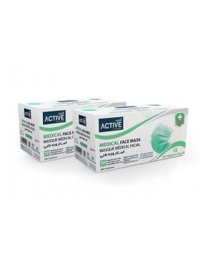 Active Medical Face Mask Green 3Ply (50Pcs x 2 pkt)